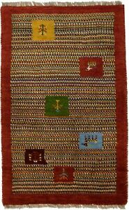 Handmade Multicolored Tribal Border 2X3 Gabbeh Modern Oriental Rug Kids Carpet