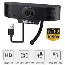 Webcam Auto Focusing Web Camera 1080P HD Cam W/ Microphone For PC Laptop Desktop