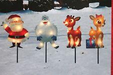 "SET 4  LIT RUDOLPH SANTA STAKES PATHWAY DRIVEWAY CHRISTMAS LIGHTS 8"" DECORATIONS"