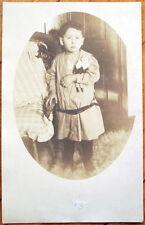 1905 Doll Realphoto AZO Postcard: Little Boy w/Toy Doll