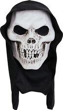 Adult Hooded Skull Terror Mask Halloween Skeleton Reaper Fancy Accessory New UK