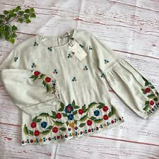 ZARA Floral Embroidery Gypsy Top Heather Blouse Size XS Flounce Sleeve Boho Top
