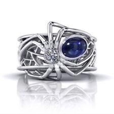 Women Men Animal Spider 925 Silver Ring 1.68 ct Blue Sapphire Wedding Size 8