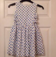 Young Girls - Pretty Blue Polka Dot BHS Sleeveless Lined Dress -Size 5 - 6 Years