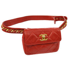 CHANEL Quilted CC Chain Mini Bum Bag Waist Pouch Red Leather GHW AK36832k