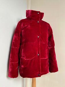 Tu Cherry Red Velvet Puffer Padded Winter Jacket Very Warm & Cosy UK 12