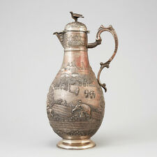 ANTIQUE SILVERED INDIAN JUG BY GRISH CHUNDER DUTT, CALCUTTA CIRCA 1890