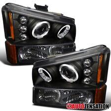 For 2003-2006 Silverado Avalanche Black LED Halo Projector Headlights+Bumper