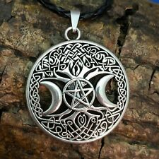 Wicca Antique Silver Tone Triple Moon Tree Of Life  Pentacle Pendant Necklace