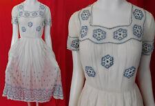Vintage 1940s White Cotton Batiste Blue Chain Stitch Embroidered Tea Gown Dress