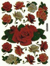 PLANCHE ROSES ROSE 15 STICKER AUTOCOLLANT DIMENSIONS PLANCHE 13 X 10 CM