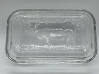 Vintage Arcoroc France Glass Refrigerator Country Cow Butter Dish