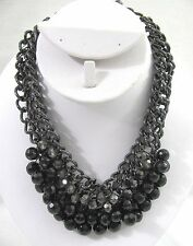 NWT Sequin Black Gray Heavy Beaded Choker Chunky Chain Necklace Beads USA Seller