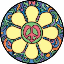 Heart Flower with Peace Sign Spare Tire Cover Rv Jeep Camper-all sizes available