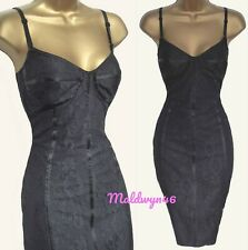 KAREN MILLEN ✩ SEXY VINTAGE BLACK LACE MESH WIGGLE SLIP CORSET DRESS  UK 12