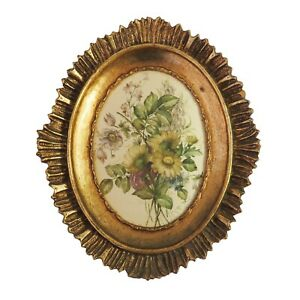Vintage Gilded Gold Wooden Framed Silk Oval Print, Floral Flowers Art, Italy