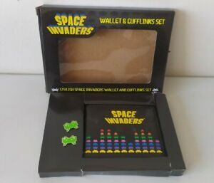 Retro 80s Arcade Space Invaders Game Wallet And Cufflinks Gift Set Fathers Day
