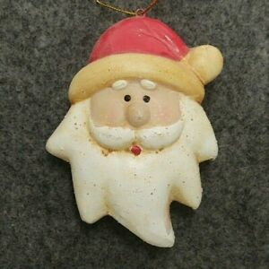 """HAND PAINTED CERAMIC SANTA FACE CHRISTMAS TREE ORNAMENT 3"""" TALL X 2.5"""" WIDE X 1"""""""