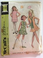 1970's VINTAGE SEWING PATTERN McCall's 2319 Girls Size 10 Breast 28 1/2