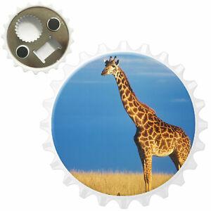 African Giraffe In Savannah Bottle Opener Fridge Magnet