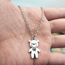 Teddy Bear silver Necklace alloy pendants ornament ,creative jewelry accessory