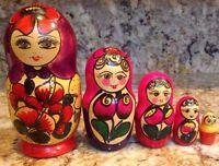 Russian Nesting Doll Matryoshka Wood Varnish Hand Painted Handmade