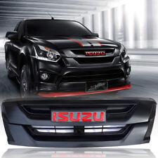 MATTE MATT BLACK GRILLE GRILL CARBON KEVLAR LOGO FOR ISUZU D-MAX DMAX 2015 16 17