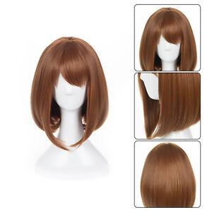 Anime My Hero Academia Ochako Uraraka Cosplay Brown Short Wig Costume Gift