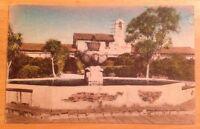 Mission San Juan Capistrano CA early antique hand-colored postcard 1947 postmark