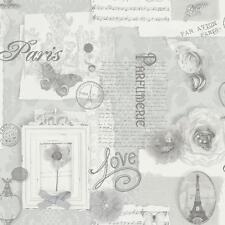 Arthouse Felicidad París Estampado de Flores Plata Adorno Mariposa Papel Pintado