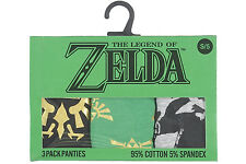 Legend of Zelda 3 Pack Panties Set Glitter Screen Prints Bows Underwear Green
