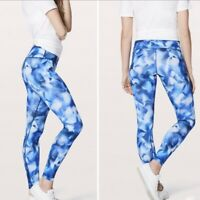 Lululemon Wunder Under Blue Tie Dye Leggings Size 2
