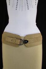 Women Black White Beige Elastic Fashion Belt Snake Skin Wide Faux Leather S M
