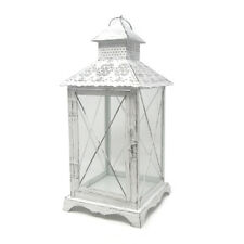 White Victorian Style Decorative Metal Lantern, 15-1/2-Inch