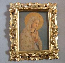 Bbd602 Miniature - Italy Florentia Carved Gilt Frame And Madonna Print, Vintage