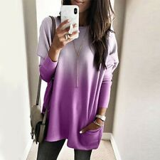Women Plus Long Sleeve Pullover T-shirt Casual Tunic Dress Tops Jumper Blouse