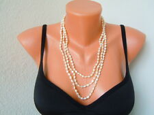 Lange Biwa Perlenkette Endloskette ohne Verschluß ca 168 cm / 55,1 g