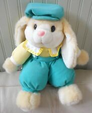 "Vtg Clover Hill BUNNY RABBIT Plush Stuffed Yellow Overalls Cap TAGS 15"" 1994"