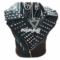 Mens Punk Spike Wide Lapel Vest Zip Motocycle Pu Leather Nightclub Veast Rock @@