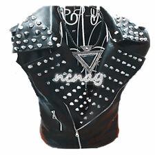 Mens Punk Spike Wide Lapel Vest Zip Motocycle Pu Leather Nightclub Veast Rock @