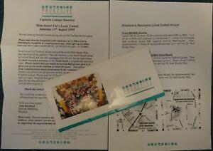 1999/00  MANCHESTER UNITED v LEEDS UTD    Proactive VIP Itinerary and folder