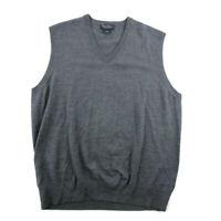 Brooks Brothers Mens Sweater Vest Gray Knit VNeck Saxxon Wool Size 2XL