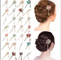 Women Metal Rhinestone Hair Chopsticks Hair Stick Hairpin Chignon Pin Handmade