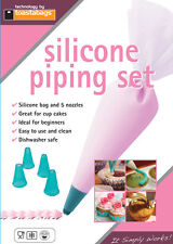 SILICONE PIPING SET LARGE ICING BAG WITH 5 NOZZLES + 5 PASTRY CUTTERS SPS COOK24