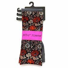 2 Pk BETSEY JOHNSON Trouser Socks, Ladies 9-11 Gray Sparkle & Floral Black/Gray