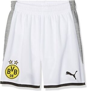 PUMA Jungen BVB Kids Replica Short with innerslip Weiß-Gray Heather, 176