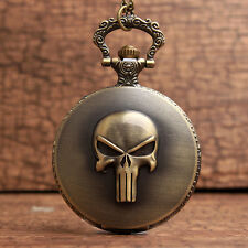 The Punisher Black Skull Roman Numeral Quartz Pocket Watch Pendant Chain