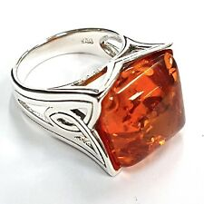 925 Sterling Silver Honey Amber Art Nouveau Celtic Style Naturalistic Ring 7