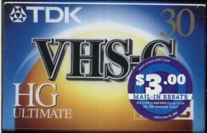 Lot of 3 Sealed TDK VHS-C HG Ultimate 30 ~ VHS Camcorder Tape