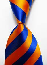 New Classic Striped Orange Blue JACQUARD WOVEN 100% Silk Men's Tie Necktie